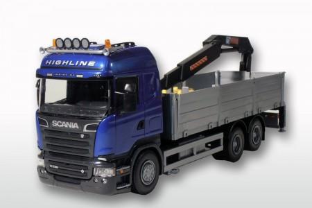 Scania P met Bouwmaterialenopbouw en kraan Blauw