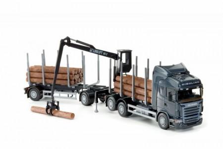 Scania R Highline V8 met Bosbouwtrailer Blauw-Zwart