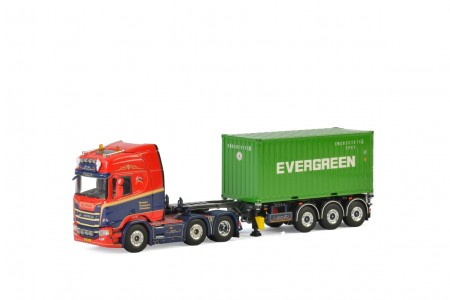 WSI Geert Roosjen; SCANIA R HIGHLINE CR20H 6x2 TWIN STEER CONTAINER TRAILER - 3 AXLE + 20 FT CONTAINER