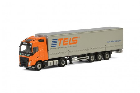 WSI Tels; VOLVO FH4 GLOBETROTTER 4x2 CURTAINSIDE / TAUTLINER TRAILER - 3 AXLE